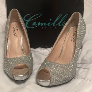 Sequined Silver Heels
